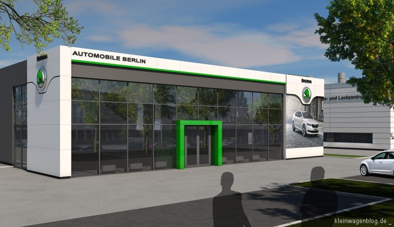 baubeginn f r erstes berliner koda autohaus im neuen corporate design kleinwagenblog. Black Bedroom Furniture Sets. Home Design Ideas